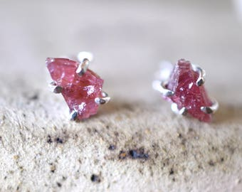 Raw garnet studs silver earrings rhodolite garnet sterling silver rough stone studs purplish red stone earrings  jewelry January birthstone
