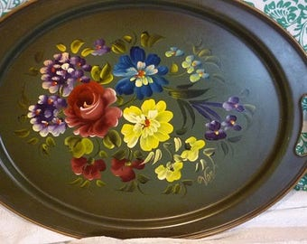 Toleware Dark Green Painted Floral Oval Tray Nashco NY artist signed Tray