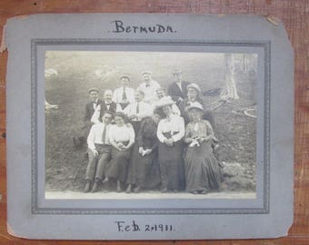 Old Antique Photograph Group in Bermuda February 2, 1911 Old Bicycle Victorian Clothing Sepia Tone