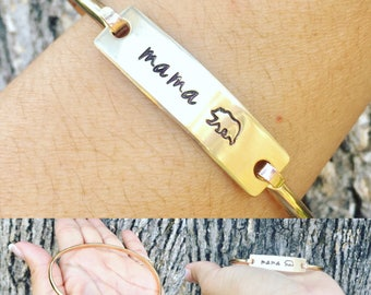Mama Bear Bangle, Mama Bear, Christmas Gifts For Mom, Mom Jewelry, Hand Stamped Bangle, Gifts For Mom, Natashaaloha