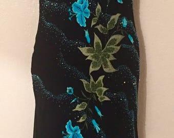 Beautiful Black Silk Floral Beaded Vintage Dress