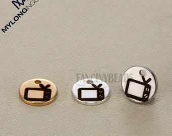 DLY supplies Stainless steel television sign charms-everyday life series pendant jewelry-necklace pendant-10 pcs-G0112--three color choices