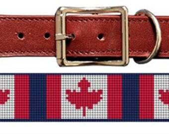 Canada Flag Dog Collar Needlepoint Canvas