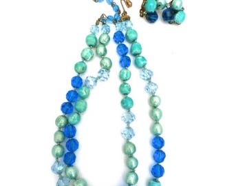 SAVE 20% Stunning Vintage Eugene Signed Necklace & Earrings 1950s Bright Blues Greens