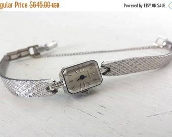 34% Off Sale - Movado Watch - Vintage 14K White Gold Womens Watch - 1940s Ladies Movado Mesh Band Wrist Watch - Art Deco