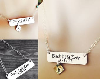 Custom stamped stability bar necklace. Design your own with a personalized message, names, dates etc...