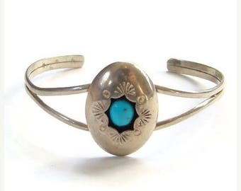 ON SALE Vintage Native American Morenci Turquoise Shadowbox Cuff Bracelet Sterling Silver Signed P