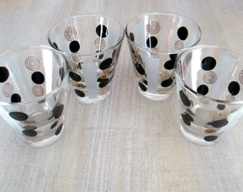 Mid Century Modern Whiskey Shot Glasses // 1960s Black and Gold Polka Dot Drink Barware
