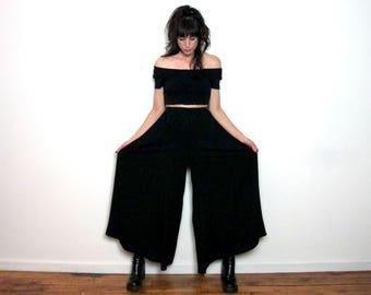 BLACK WIDE LEG 90s Vintage Pants Trousers High Waist Size L/Xl