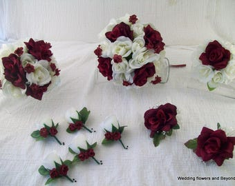 Silk Flower Wedding Bouquet Packages - Burgundy and Ivory Rose Bridal Bouquets - Burgundy Corsages - Burgundy Boutonnieres - Made To Order