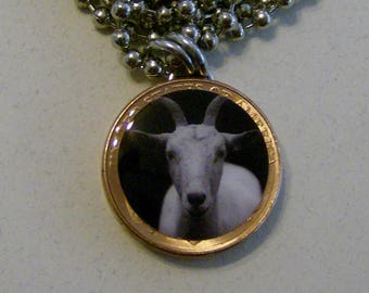 Lucky Penny Pendant 2-Sided White Goat Charm Necklace Animals pets stainless steel Chain or satin Cord