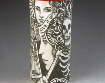 Day of the dead ceramic story vase black and white and red with skulls, skeletons rabbit carpe diem and more