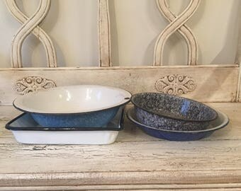 Lot of Vintage Enamelware - 4 Rustic Bowls and Trays - Instant Collection