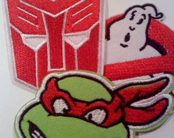 80s themed iron on patches, Set of 3