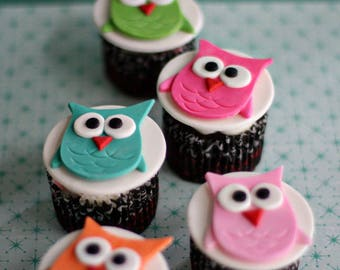 Owl Fondant Toppers for Cupcakes, Cookies or other Treats