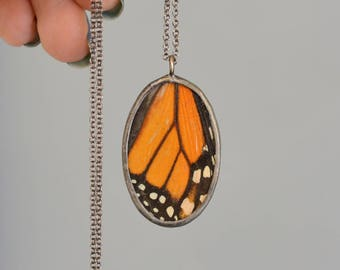 Monarch Butterfly Oval Necklace