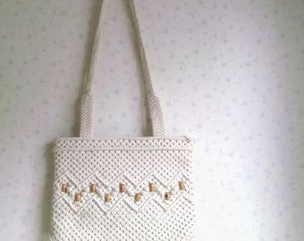 Vintage Cotton Lined Woven Bag with Bead Decoration