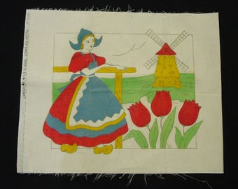 Vintage Pillow Top Vogart Stamped Dutch Girl, Wind Mill, Tulips Unused, To Embroider