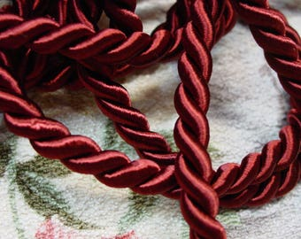 "Vintage Twisted Cord Trim Rope Silky Rayon Burgundy 3/8"" Wide 9 1/2 Yards Upholstery,Pillows +"