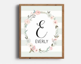 Nursery Monogram Art, Everly, Kid's Room Decor, Nursery Art, Baby Name Signs, Nursery Print, Baby Girl Nursery, Digital Print