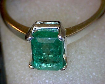Beautiful Zambian Emerald Leaf Ring
