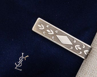 Silver Etched Pattern Tie Clip Vintage Diamond Textured Scroll Men's Accessories Add On 7WW
