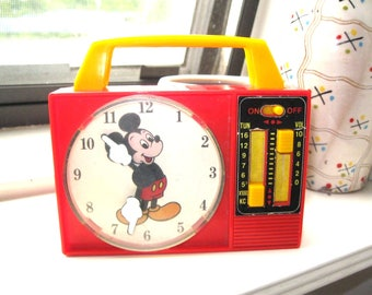 Vintage Mickey Mouse Toy Clock Radio Music Box by Illco/It's A Small World