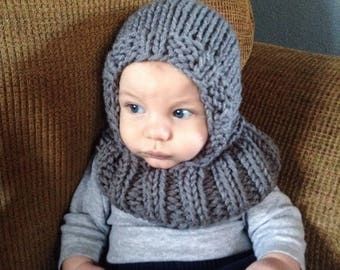 Hooded Baby Scarf, Grey Hooded Scarf, Infinity Scarf, Knit Hood, Child Scarf, Balaclava, Knit Hooded Scarf, Knit Infinity Scarf