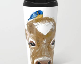 Bluebird on Cow, Cow mugs,  Metal travel mug 15 oz