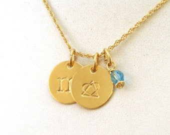 SALE CIJ2017 Gold Gotcha Day Gift - Letter and Birthstone Necklace with Adoption Symbol - Gold Jewelry