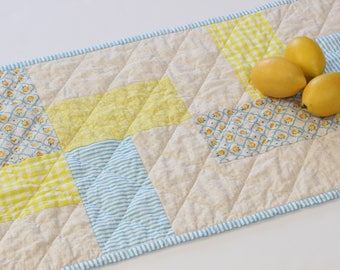 """Quilted Table Runner, Spring Table Runner, Blue Yellow Table Runner, 16"""" x 77"""""""