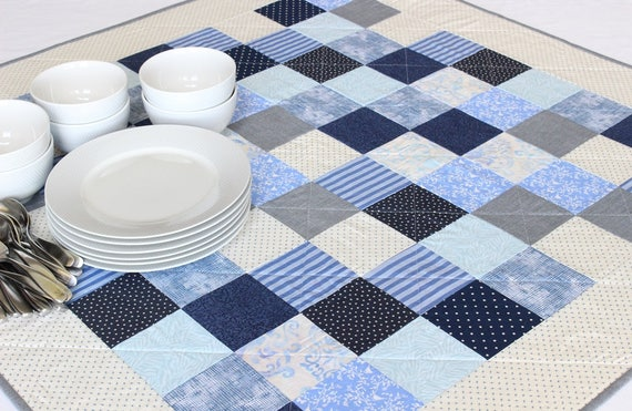 Square Blue White Patchwork Table Topper