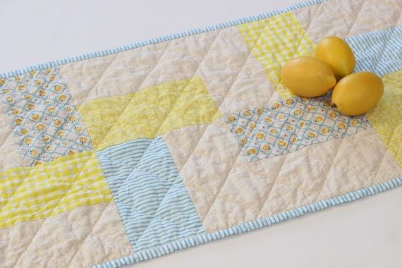 Blue Yellow Spring Quilted Table Runner