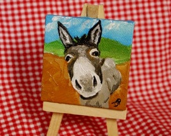 Miniature Canvas Donkey Oil Painting - Magnet