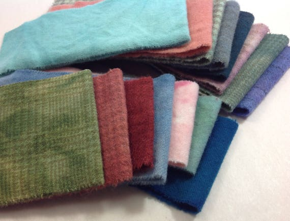 Small Wool Pieces for Applique and Crafting, Hand Dyed Colorful Mix, 100% wool fabric, Mottled hand dyed wool, W351
