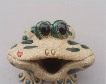 Frog toothpick holder,frogs, frog, handmade frog, sculpted frogs stoneware frogs, clay frogs, original frogs, ooak frogs, by Pencepets