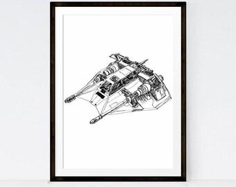 SALE Star Wars,Star Wars Art Printables ,SNOWSPEEDER, Starwars vehicles, Star Wars Poster, Room Decor- Instant Download