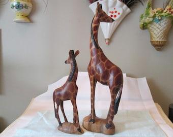 Vintage Carved Wooden Painted Giraffes, Folk Art, Giraffe Collectors, Wooden Sculpture, Home Decor,