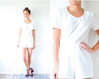 40% OFF CHRISTMAS in JULY Vintage white mini romper // simple short romper // white textured romper dress // textured print mini dress // ju