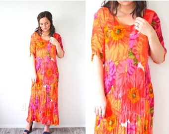 30% OFF SALE Retro neon pink and orange floral dress // pink floral maxi dress // multi-colored dress // summer maxi dress // modest short s