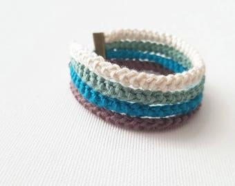 Mint and chocolate multistrand bracelet mens bracelet, Crochet natural fiber bracelet for man, customizable bracelet for him and her