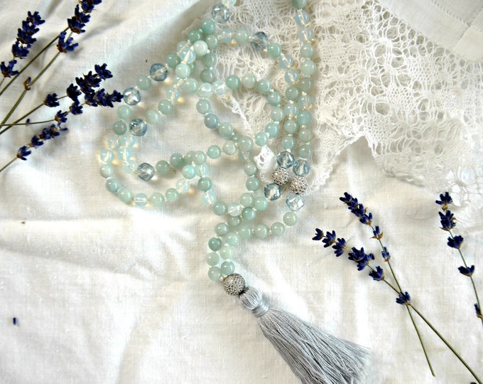 Aquamarin and opal handknotted tassel necklace, 108 mala beads, light grey blue handknotted necklace, gemstone necklace