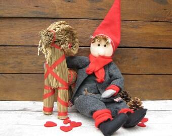 Large Scandinavian Gnome With Straw Goat - Nisse - Tomte - Tonttu - Gonk Christmas Decoration - Scandi Decor - Norwegian - Swedish - Danish