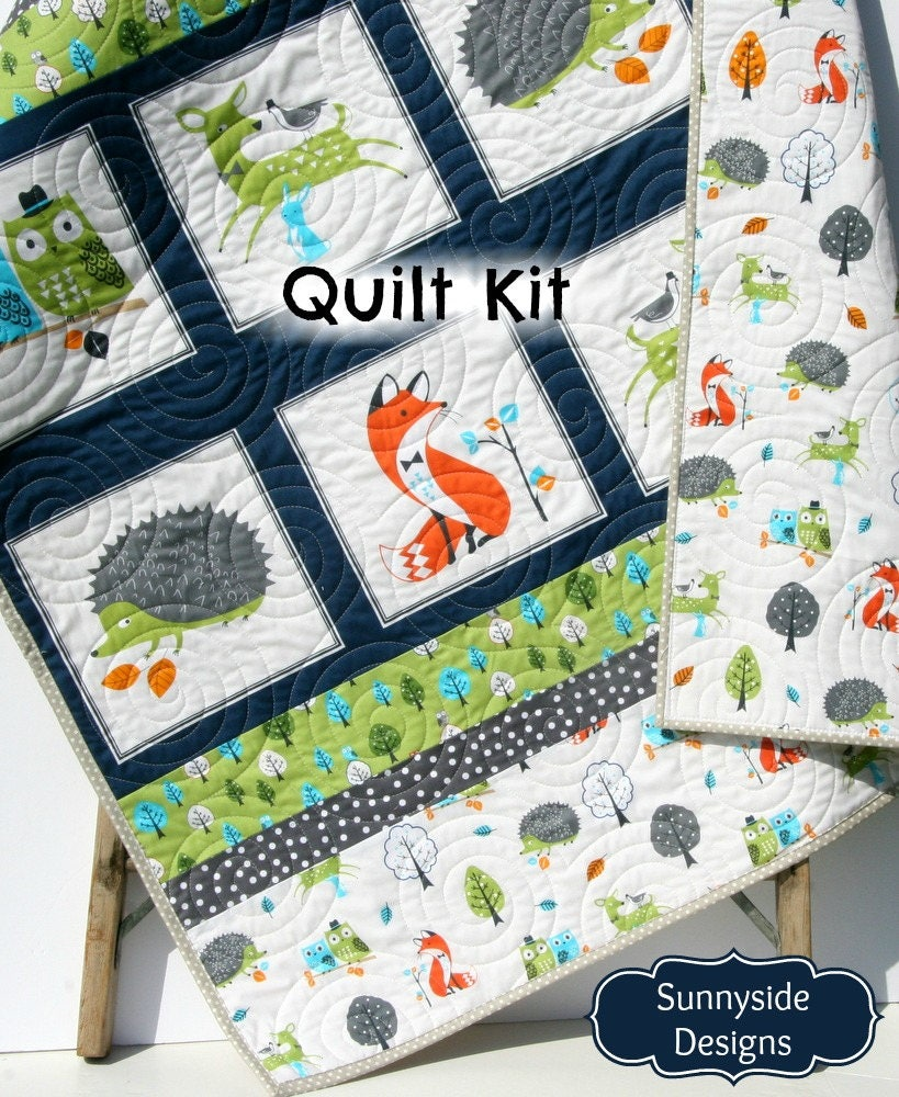 Woodland Quilt Kit Diy Project Easy Beginner Striped Panel