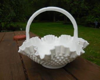 Vintage 1950s to 1960s Large White Milk Glass Hobnail Basket with Handle Wedding/Decor/Decorative/Fruit/Centerpiece Retro Ruffled Edging