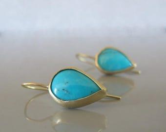 Turquoise drop earrings, 14k gold drop earrings, Turquoise jewelry