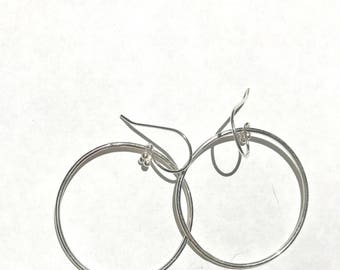 Sterling silver hoops, Perfectly round, Simple,