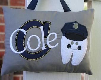 Policeman Tooth Fairy Pillow - Boys - Police - Tooth Chart - Kids gift - Birthday - Policeman Birthday