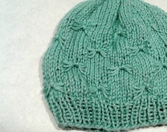 Seafoam colored knit baby hat bow tie stitch 3 to 6 months