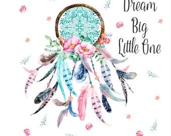 Minky Baby Blanket, Baby Girl, Dream Catcher, Pink/Teal
